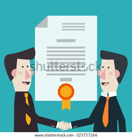 Handshake vector concept. Two businessmen shake hands. Concept of business contract, international partnership, cooperation and teamwork in business. Flat modern design style - stock vector