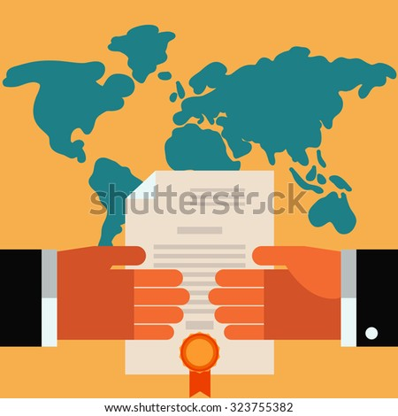 Handshake vector concept. Two businessmen shake hands over world map. Concept of international partnership, cooperation and teamwork in business. Flat modern design style - stock vector