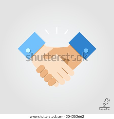 Handshake.  Vector flat design. Icon for presentation, training, marketing, design, web. Can be used for creative template, logo, sign, craft. Isolated on white background.  - stock vector