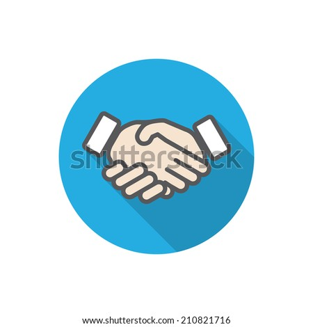 handshake. vector flat icon of hands with long shadow. eps10 - stock vector