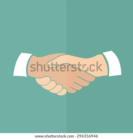 handshake vector icon. Flat design
