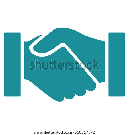 Handshake vector icon. Flat soft blue business contact symbol. Hand shake pictogram is isolated on a white background. Designed for web and business software interfaces.
