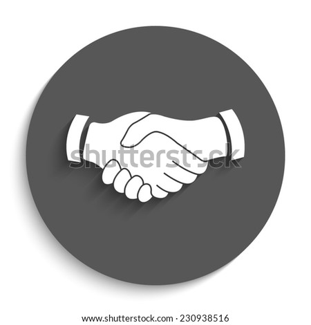 handshake - vector icon with shadow on a round grey button - stock vector