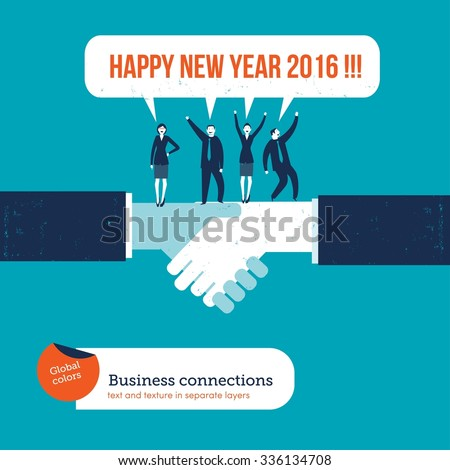 handshake with businesspeople saying happy new year 2016 vector illustration eps10 file global colors