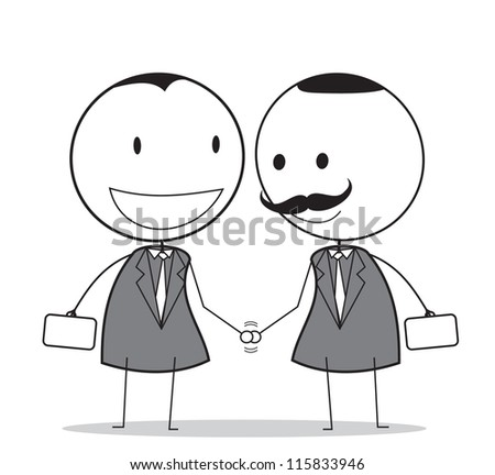 handshake with senior businessman - stock vector