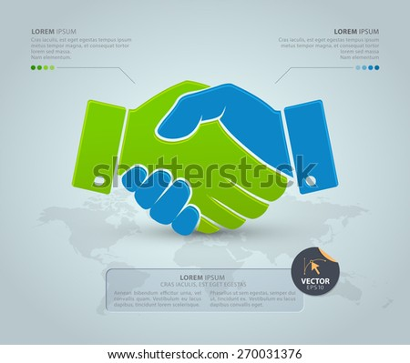Handshake with world map on the grey background. Vector Infographic template. Partnership concept. Business icon. - stock vector