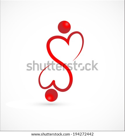 Handshaking hearts.Cooperation concept- voluntary people icon  - stock vector
