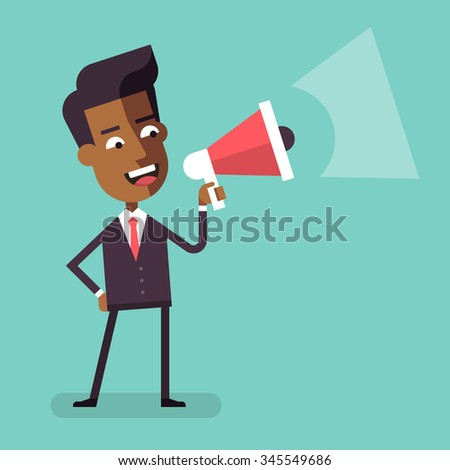 Handsome african american businessman in formal suit holding megaphone and shouting in it. Cartoon character - happy manager with bullhorn. Business concept. Vector flat design illustration. - stock vector
