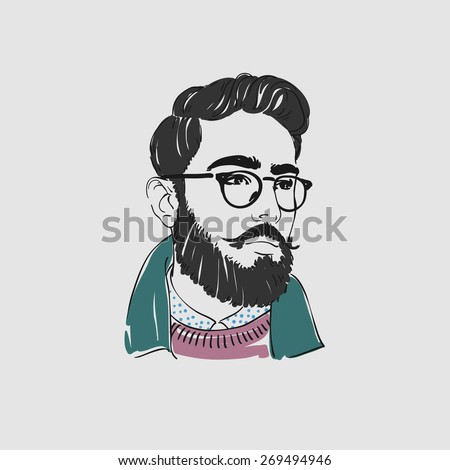 Handsome arabian young man with long hair, beard and glasses. Vector illustration. Arabian men with beard. - stock vector