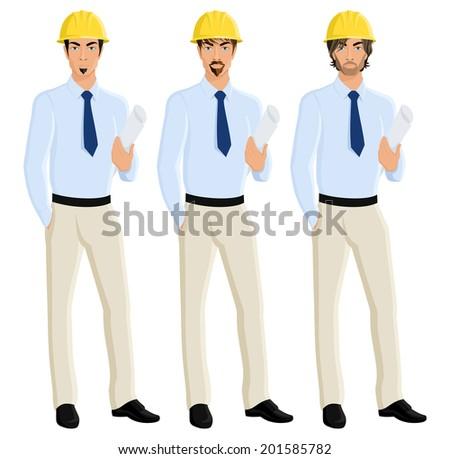 Handsome attractive men engineers portrait set in helmet with plan paper isolated vector illustration - stock vector