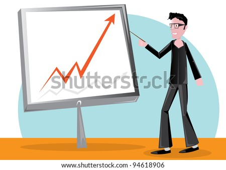 handsome business man with pointer and chart board - stock vector