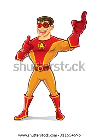handsome cartoon superhero wearing a mask is pointing forward laughing happy - stock vector