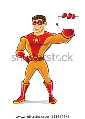 handsome cartoon superhero wearing a mask is showing the card to the front of viewers with a smile - stock vector