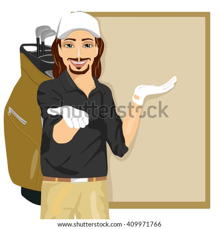 handsome golfer showing something on blank board - stock vector
