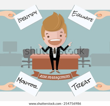 Handsome investor show the risk management process,business and finance concept - stock vector