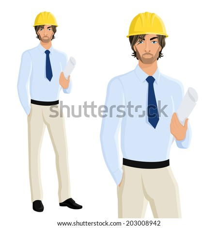 Handsome man engineer in helmet with plan paper isolated on white background vector illustration