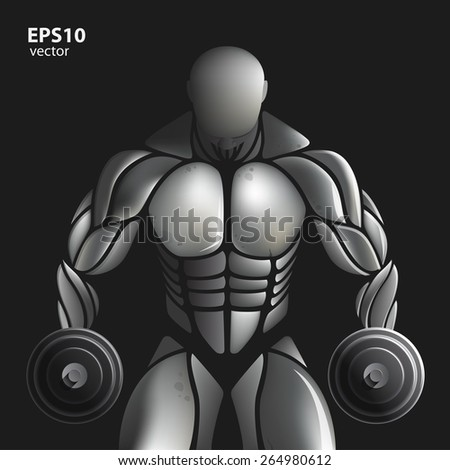 Handsome muscular bodybuilder train posing over black background. Design illustration creative concept. - stock vector