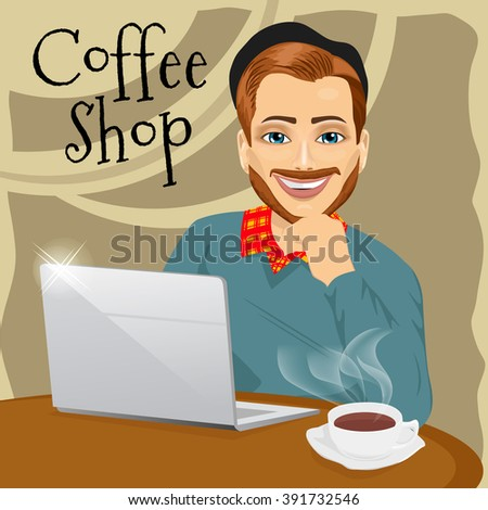 handsome red haired hipster man with laptop in coffee shop - stock vector