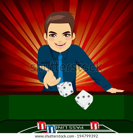 Handsome young man playing craps throwing dice on casino - stock vector