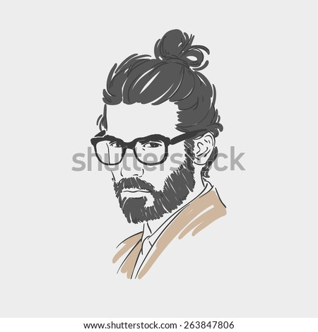 Handsome young man with long hair and glasses vector illustration - stock vector