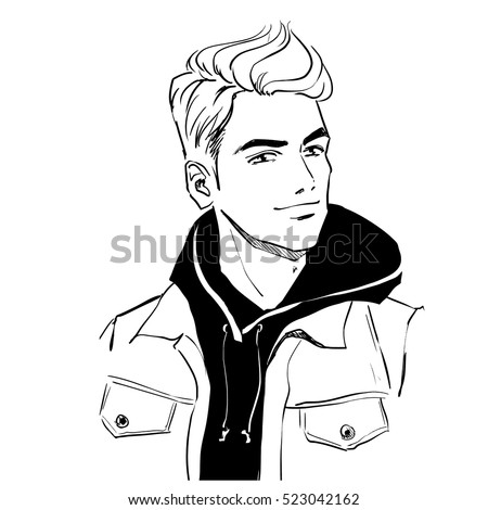 Handsome young stylish man in autumn clothes. He is wearing warm winter coat. Hand drawing vector illustration with black line art. Monochrome ilustration