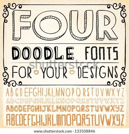 Handwriting Alphabets. Vector Hand Drawn Fonts - stock vector