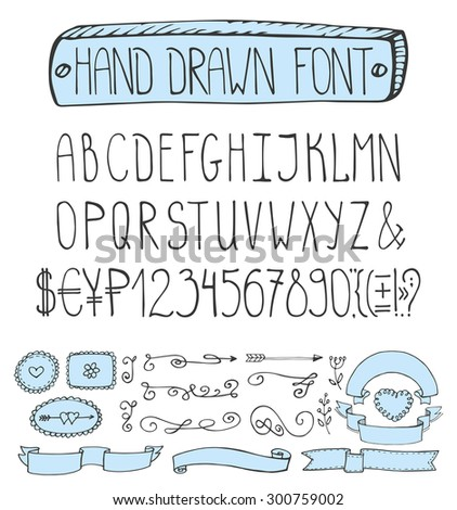Handwriting Alphabets. Vector Hand Drawn Fonts.Doodle letters,numbers,marks.English Letters with swirling borders,labels,ribbons.Sign  set. Black isolated decor elements set - stock vector