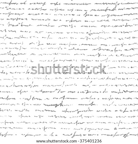Handwriting letter. Seamless pattern. Retro vintage style. Vector Illustration of handwriting. - stock vector