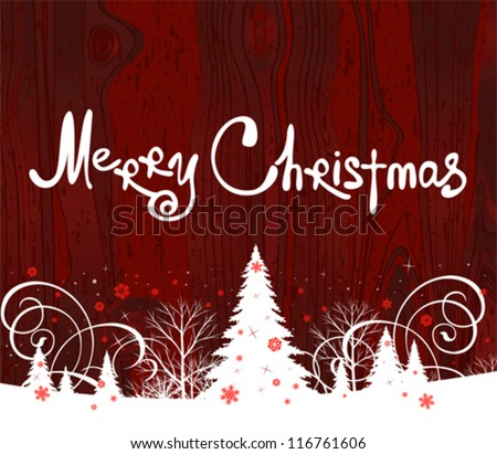 Handwriting. Merry Christmas. All elements and textures are individual objects. Vector illustration scale to any size. - stock vector