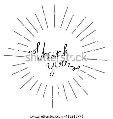 handwriting thank you inside sunburst design font, hand drawn design, typographic, vector illustration, graphic design - stock vector