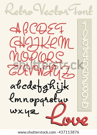 Handwriting vector font - stock vector