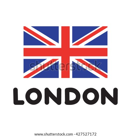 Handwriting Word London With English Flag Icon Flat Vector Illustration On White Background