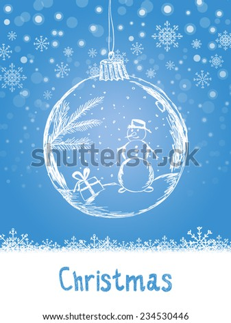 Handwriting Xmas card with ball and snowman for Merry Christmas celebration on blue snow background with snowflakes. Vector eps illustration - stock vector