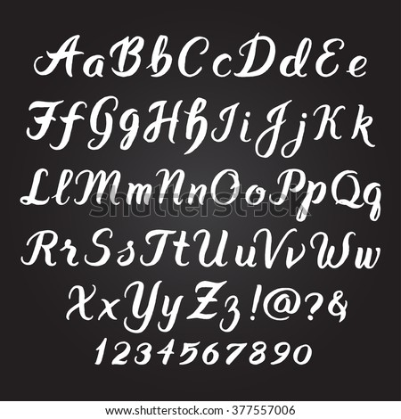 Handwritten alphabet vector font. Hand drawn brush script letters on black background. Stock vector lettering typography - stock vector