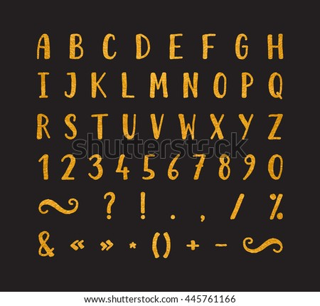 Handwritten bold gold font with punctuation marks on black background. Uppercase font contains question mark, exclamation point, period, comma, dash, hyphen, bracket etc. Vector illustration.
