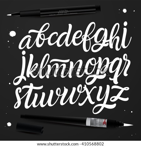 Handwritten brush style modern calligraphy cursive font. For postcard, logo design, poster decorative graphic design. Type vector.