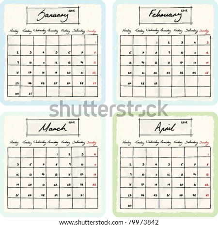 Handwritten 2012 Calendar with grunge Elements. Months January, February, March and April. Vector Version. - stock vector