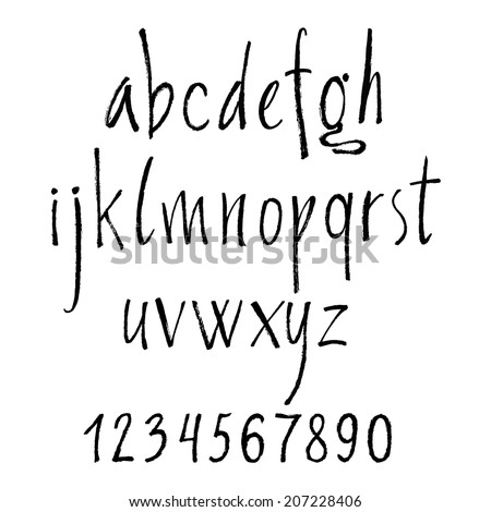Handwritten calligraphic letters of the alphabet written with a brush. Vector alphabet - stock vector