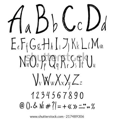 Handwritten calligraphic letters. Vector alphabet - stock vector
