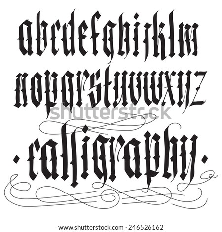 Handwritten calligraphy alphabet vector set. Blackletter gothic style