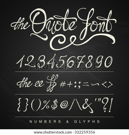 Handwritten calligraphy quote font - numbers, white on the blackboard background - stock vector