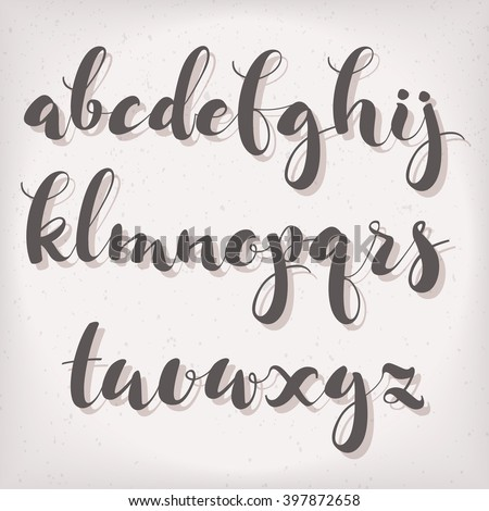 Handwritten Cute Modern Calligraphic Font The Alphabet On A Light Background Ideal For Graphic