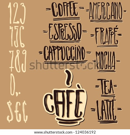 Handwritten design elements for caf�©s, coffeeshops, restaurant menus, signs, blackboards and price tags. - stock vector