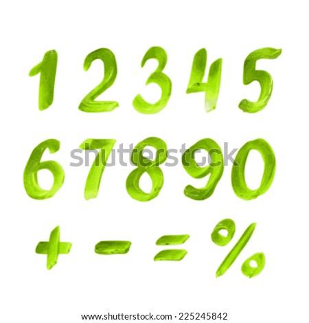 Handwritten green watercolor alphabet. Numbers and symbols - stock vector