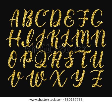Handwritten Latin Calligraphy Brush Script Of Capital Letters Gold Glitter Alphabet Vector Illustration
