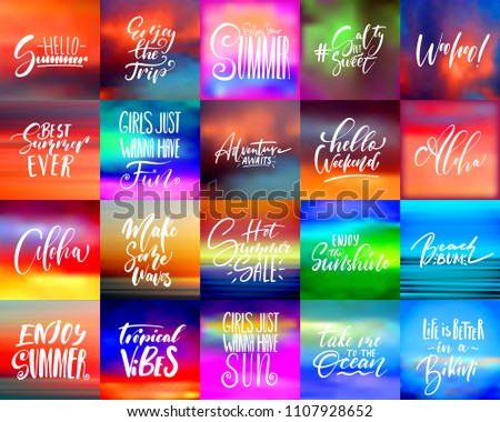 Handwritten Lettering Summer Holidays And Vacation Quotes Set