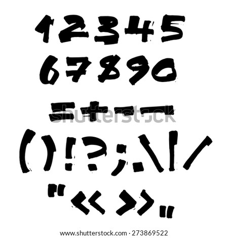 Handwritten numbers and symbols on white