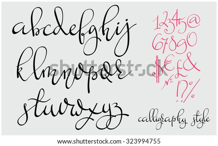 Handwritten Pointed Pen Flourish Font Letters Stock Vector ...