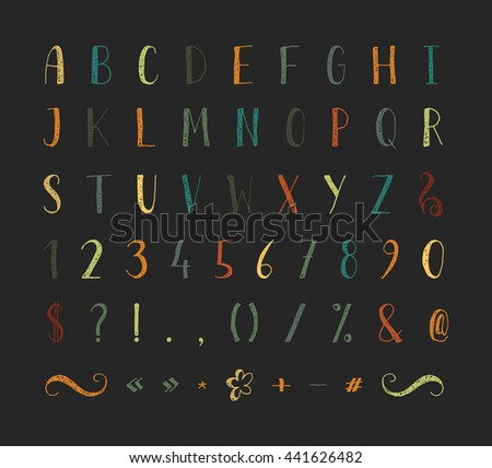 Handwritten regular grunge font with punctuation marks on black background. Uppercase font contains question mark, exclamation point, period, comma, dash, hyphen, bracket etc. Vector illustration.