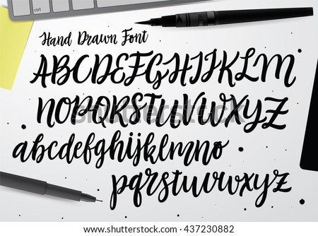 Handwritten Script font. Hand drawn brush style modern calligraphy cursive typeface. Hand Lettering and Custom Typography alphabet for Designs: Logo, Greeting Cards, Poster.  Vector Brush type set. - stock vector